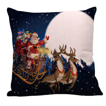 Father Christmas and Moon Printed Square Pillow Case - COLORFUL W12 INCH * L20 INCH