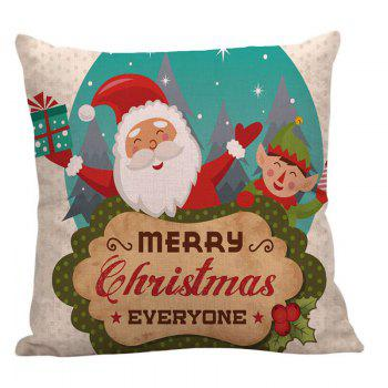 Happy Santa Claus Printed Square Pillow Case - COLORFUL COLORFUL