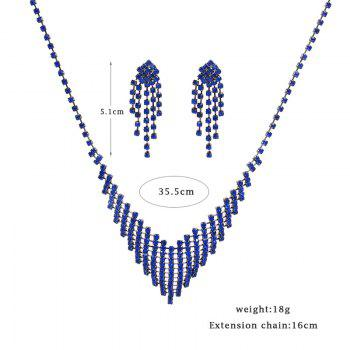 Rhinestone Fringed Necklace with Earring Set - BLUE