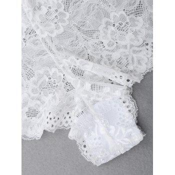 Halter Lace Bralette Set - WHITE S