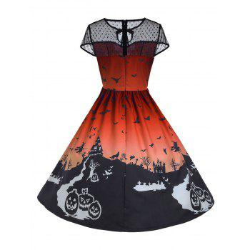 Robe Halloween Vintage à Empiècement en Dentelle - Orange L