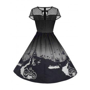 Halloween Mesh Insert Vintage A Line Dress - GRAY S
