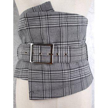 Big Pin Buckle High Waisted Corset Belt - CHECKED CHECKED