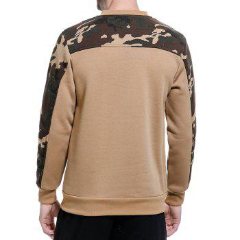 Fleece Camouflage Panel Pullover Sweatshirt - KHAKI M