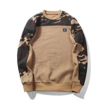 Fleece Camouflage Panel Pullover Sweatshirt - KHAKI 2XL