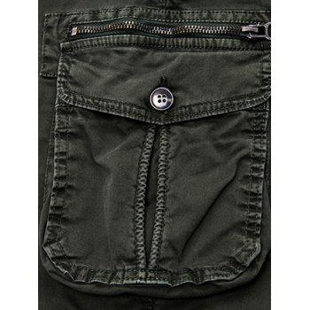 Flap Pockets Zipper Fly Cargo Jogger Pants - KHAKI 34