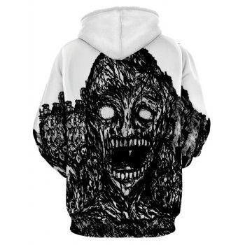 Halloween Skull Print Kangaroo Pocket Hoodie - WHITE 3XL