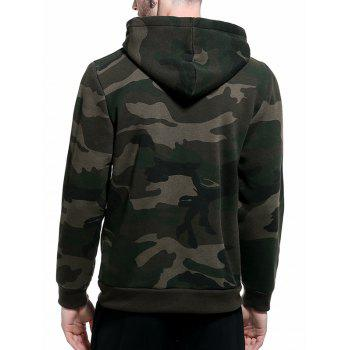 Fleece Camouflage Pocket Hoodie - ARMY GREEN L