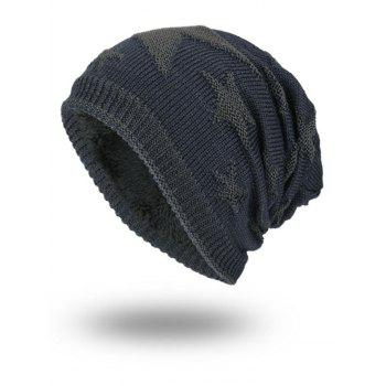 Oudoor Stars Pattern Embroidery Flocking Kint Beanie - STONE BLUE STONE BLUE