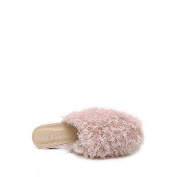 Faux Fur Flat Heel Slippers - PINK 39