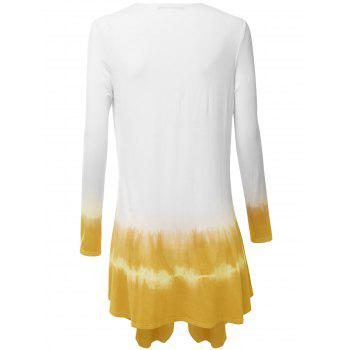 Plus Size Ombre Open Front Duster Coat - YELLOW XL