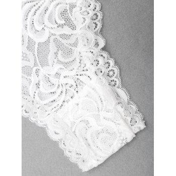 Lace Plunge Neck Backless Teddy - WHITE M