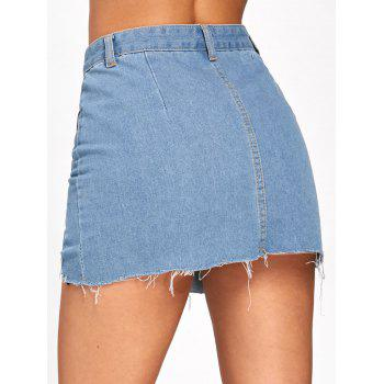 Patch Pockets Fishnet Trim Frayed Denim Skirt - DENIM BLUE L