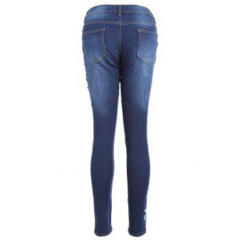 High Waisted Floral Embroidered Skinny Jeans - BLUE BLUE