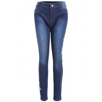 High Waisted Floral Embroidered Skinny Jeans - BLUE S