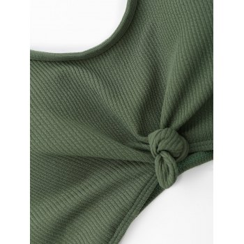 Ribbed Knotted Plus Size Swimwear - GREEN 3XL