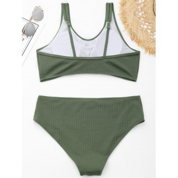 Ribbed Knotted Plus Size Swimwear - GREEN 2XL