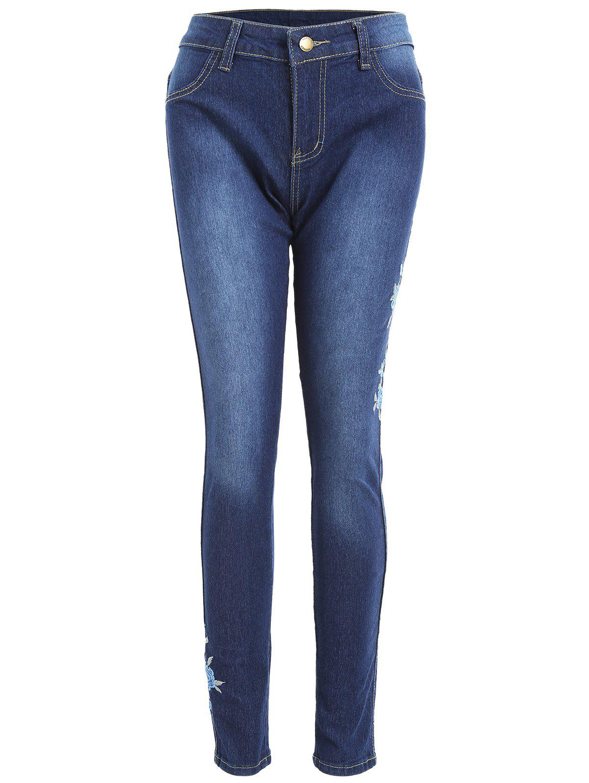 High Waisted Floral Embroidered Skinny Jeans - BLUE M