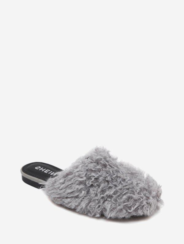 Faux Fur Flat Heel Slippers - GRAY 40