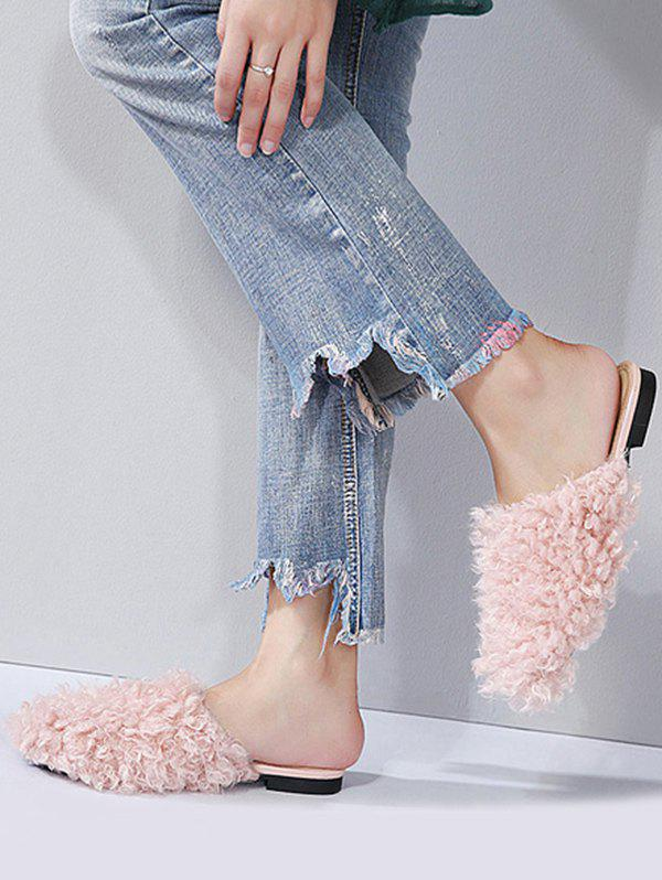 Faux Fur Flat Heel Slippers - PINK 40