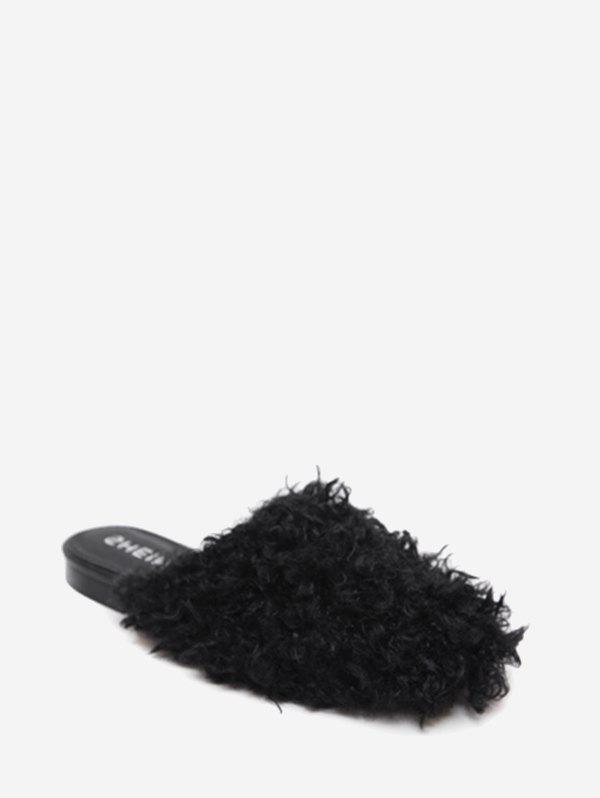 Faux Fur Flat Heel Slippers - BLACK 35