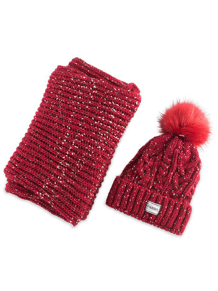 Hemp Flower Knitted Pom Hat and Scarf - RED