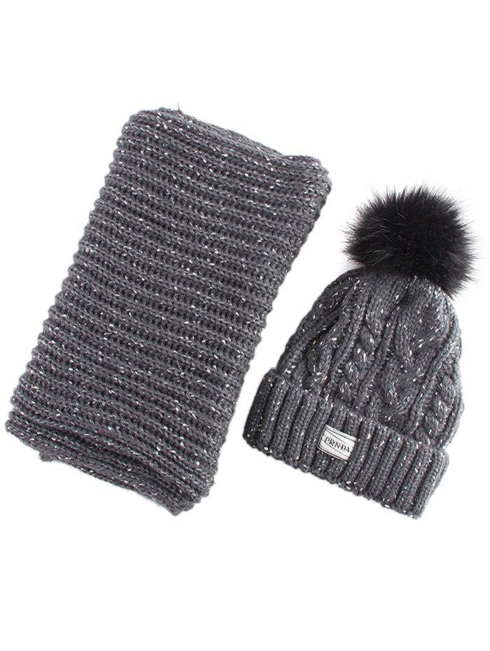 Hemp Flower Knitted Pom Hat and Scarf - BLACK GREY