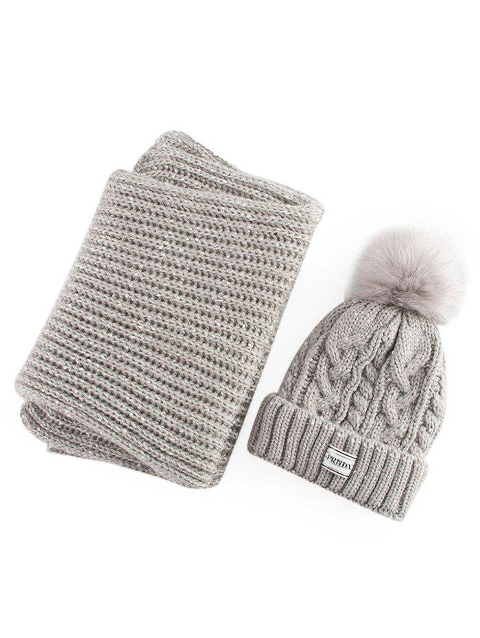 Hemp Flower Knitted Pom Hat and Scarf - GRAY