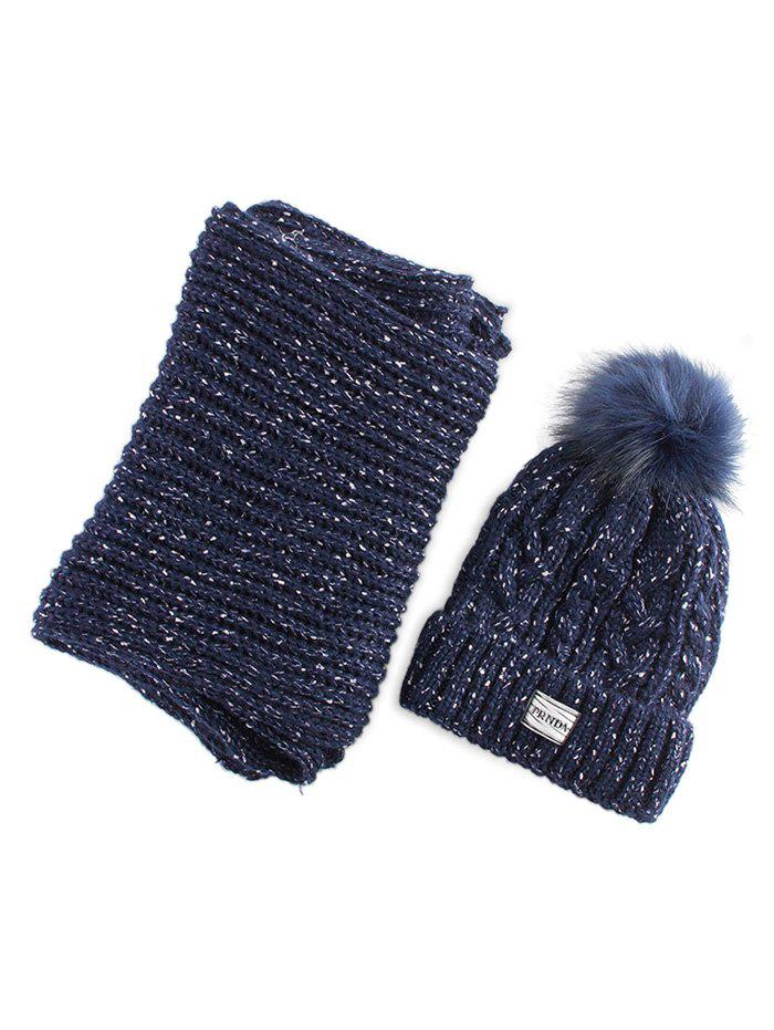 Hemp Flower Knitted Pom Hat and Scarf - PURPLISH BLUE