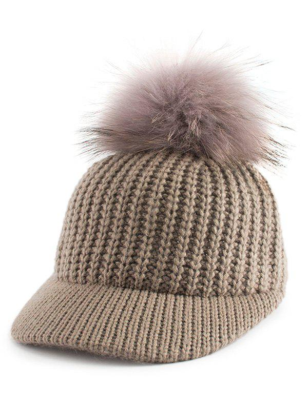 Outdoor Knit Baseball Hat with Pom Ball Embellished - KHAKI