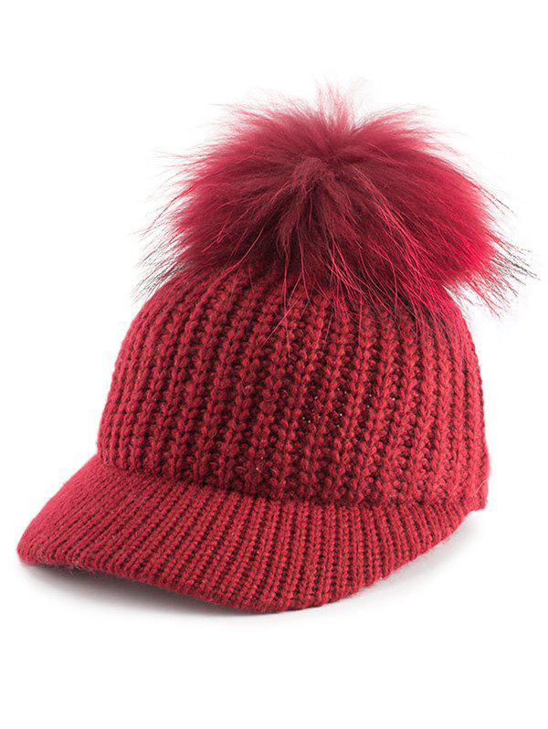 Outdoor Knit Baseball Hat with Pom Ball Embellished - RED