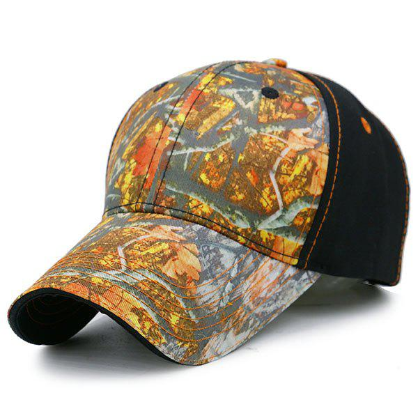 Outdoor Adjustable Baseball Hat with Camouflage Pattern - BLACK/ORANGE