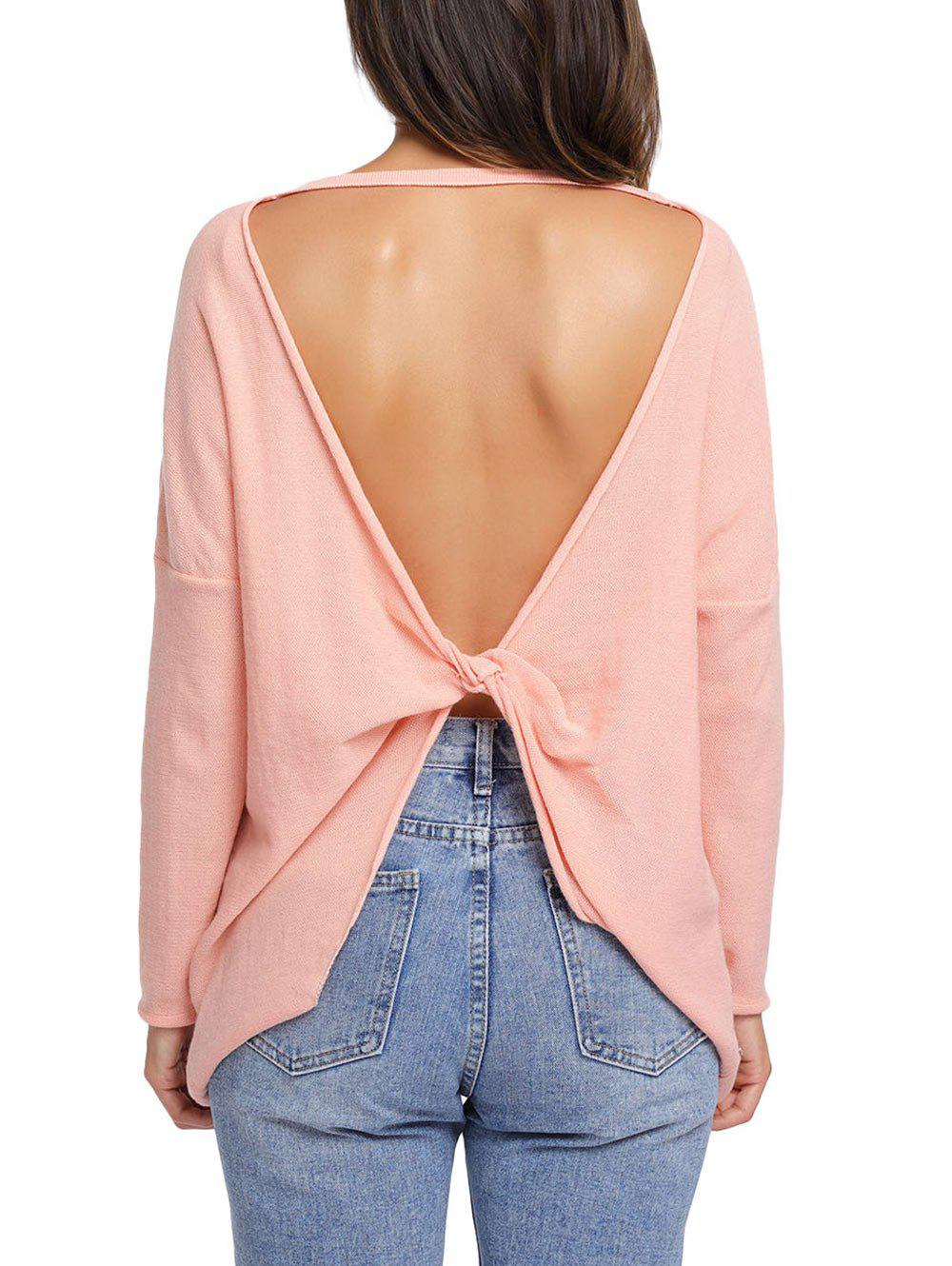 Dolman Sleeve Back Twisted Cut Out Tricots - Orange Rose M