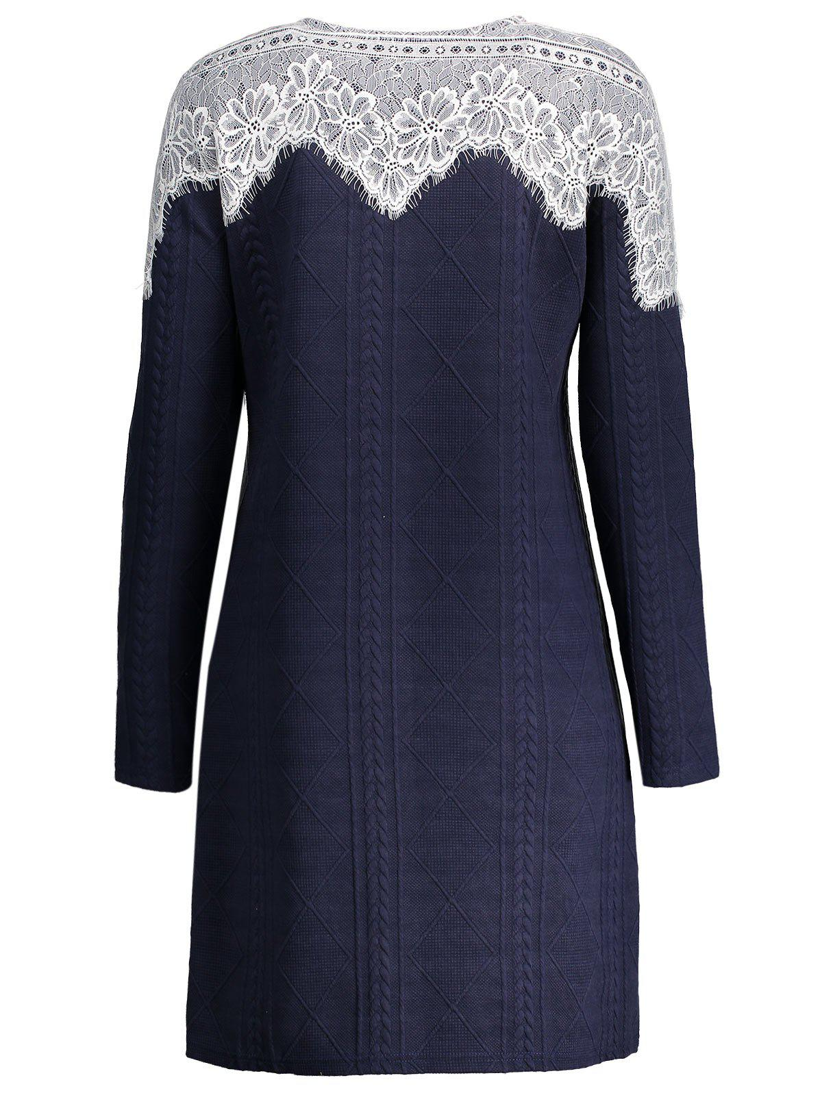 Lace Insert Plus Size Long Sleeve Dress - Bleu Foncé 5XL