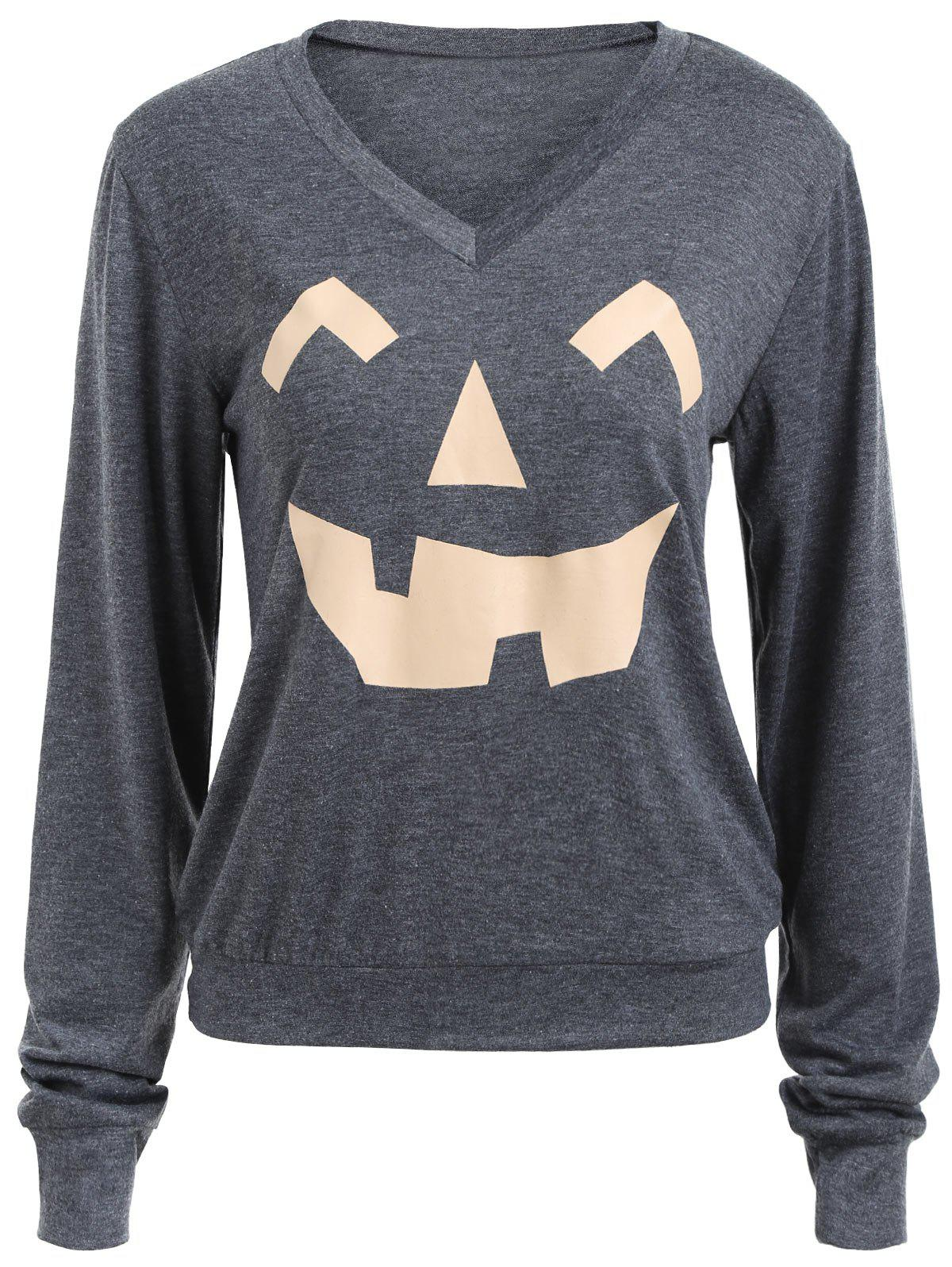 Long Sleeve V Neck Pumpkin Print Halloween Sweatshirt - DEEP GRAY XL