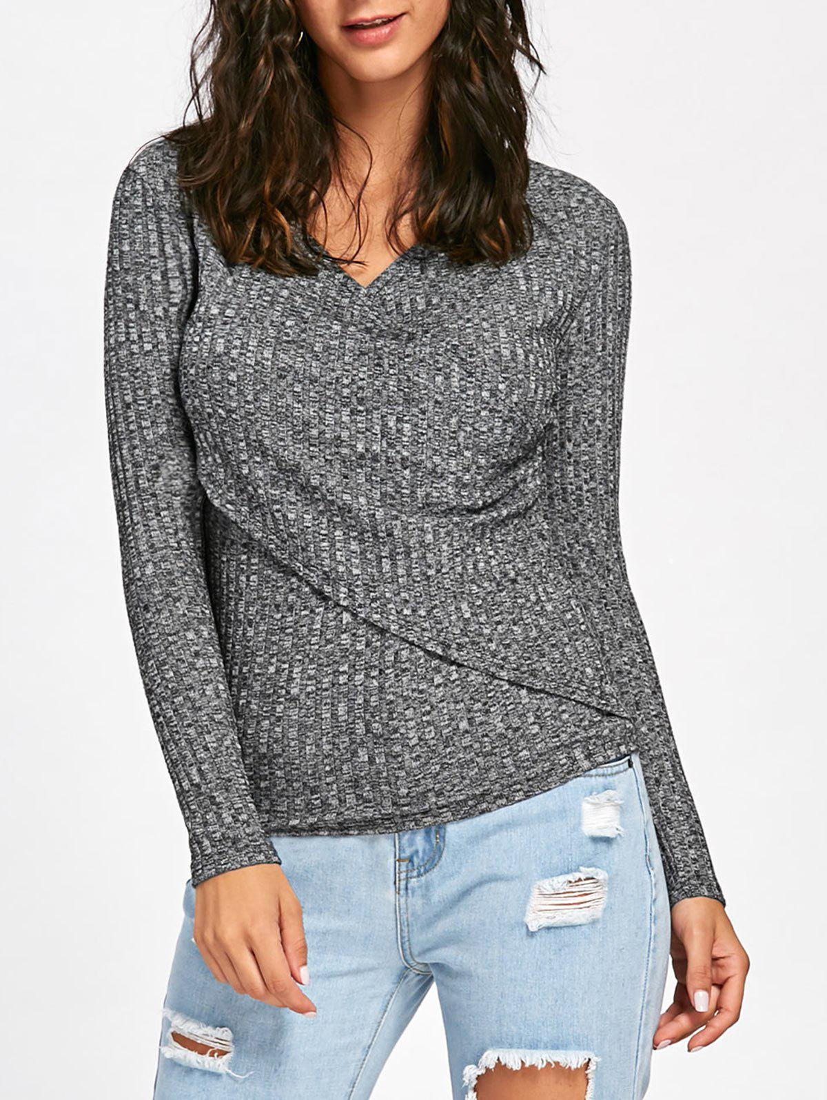 Long Sleeve Ribbed Surplice Sweater - DEEP GRAY XL