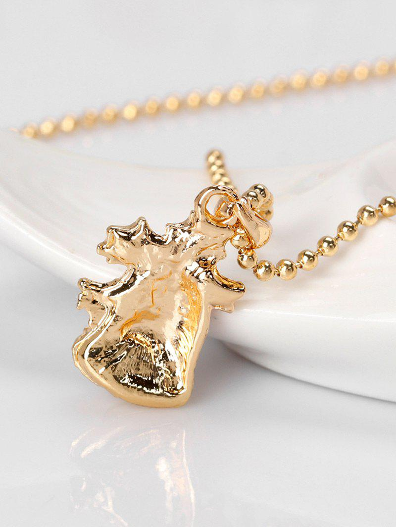 Rhinestone Christmas Bell Pendant Necklace - RED