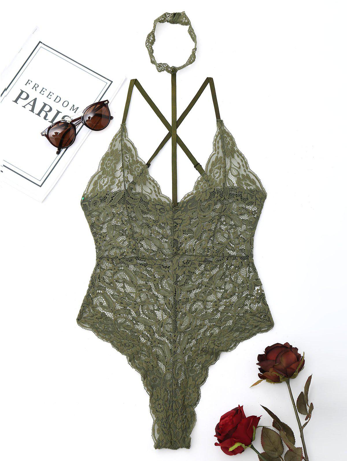 Lace Criss Cross Choker Teddy - ARMY GREEN L