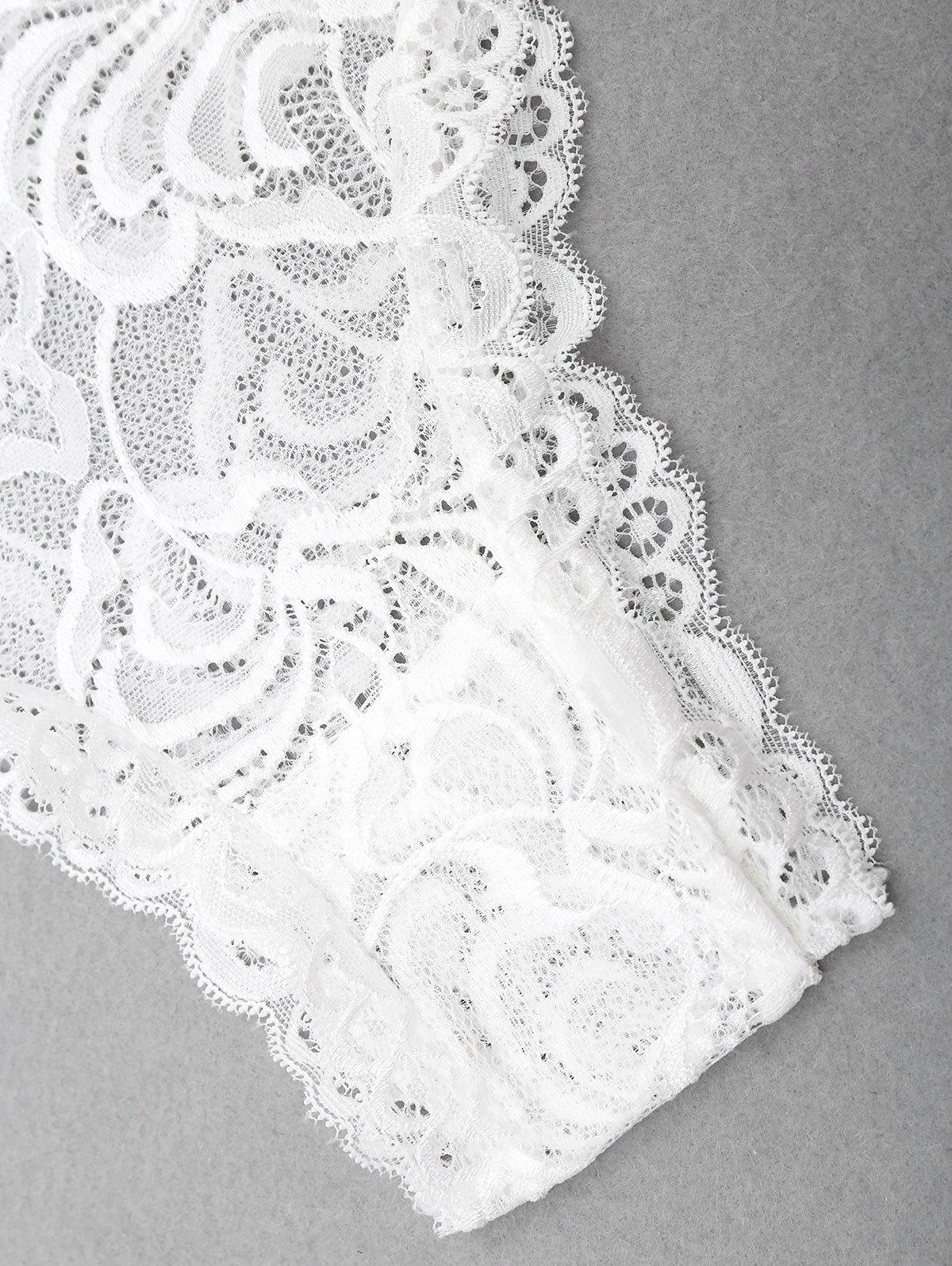 Lace Plunge Neck Backless Teddy - Blanc L