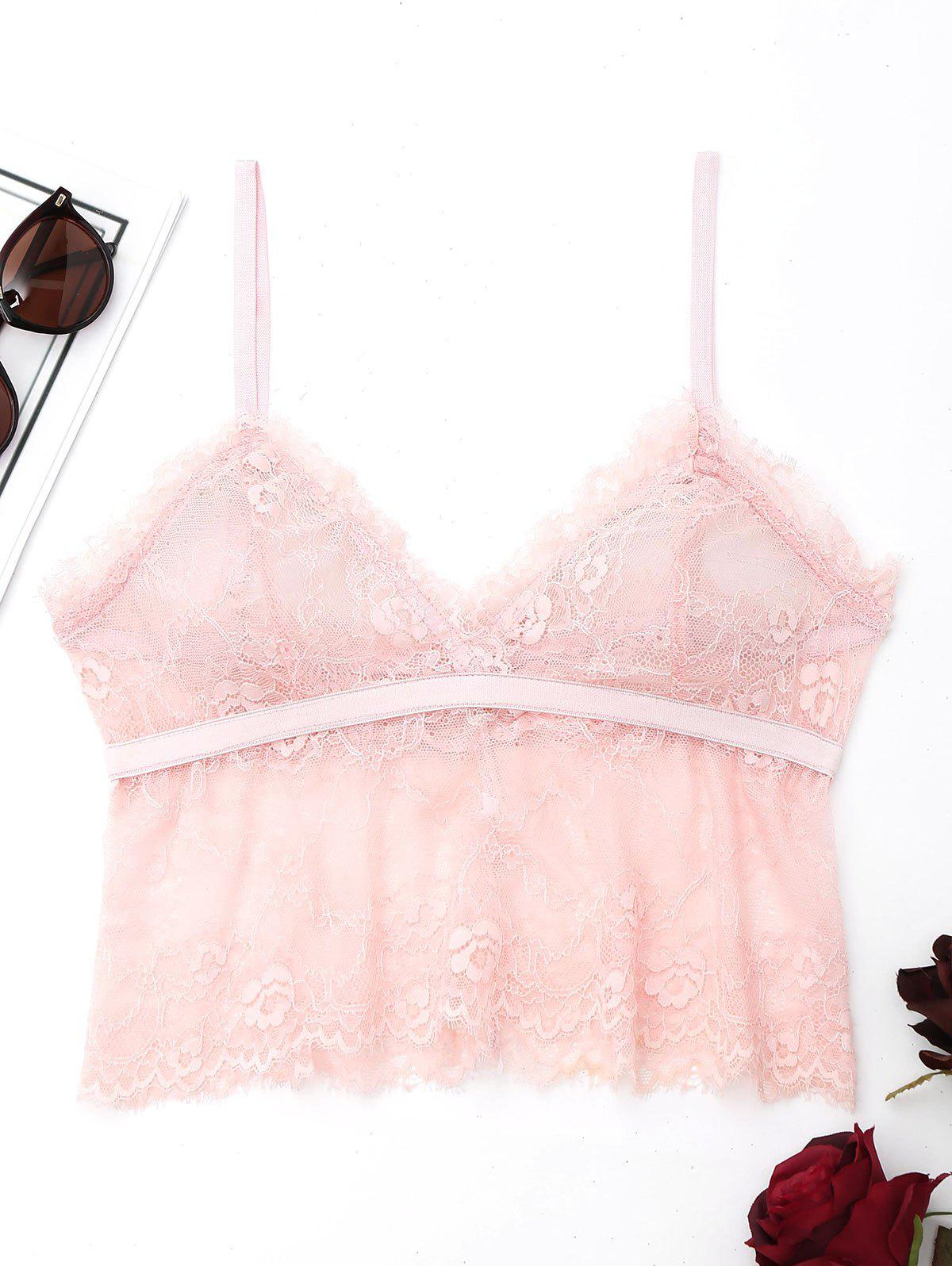 Lace See Through Cami Bralette - ROSE PÂLE S