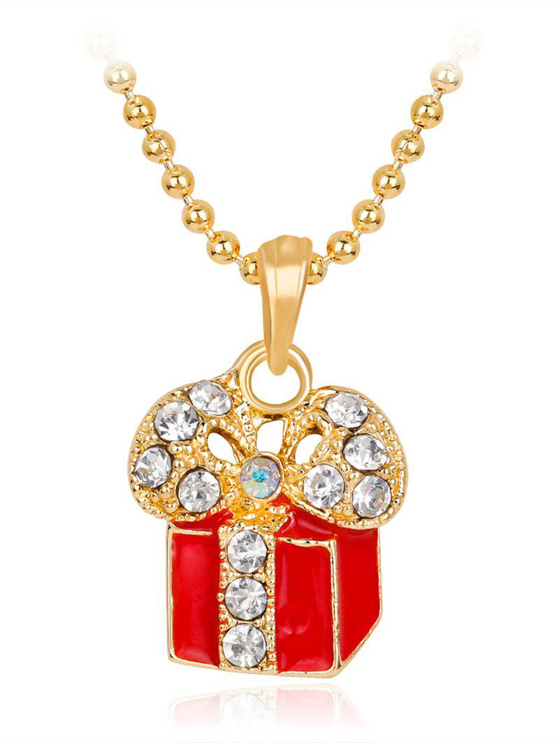 Gift Box Rhinestone Pendant Necklace - RED