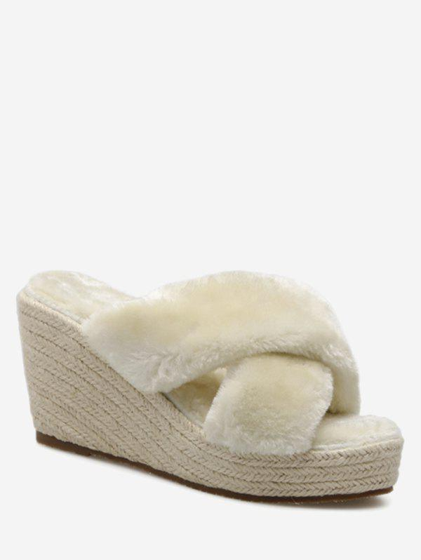 Criss Cross Faux Fur Wedge Heel Slippers - Abricot 35