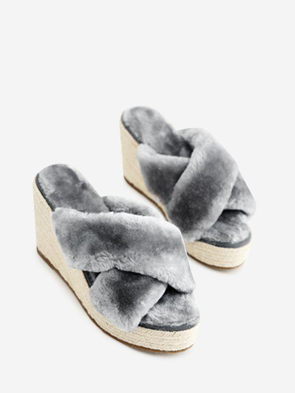 Criss Cross Faux Fur Wedge Heel Slippers - GRAY 35