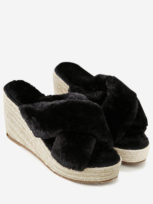 Criss Cross Faux Fur Wedge Heel Slippers - BLACK 35