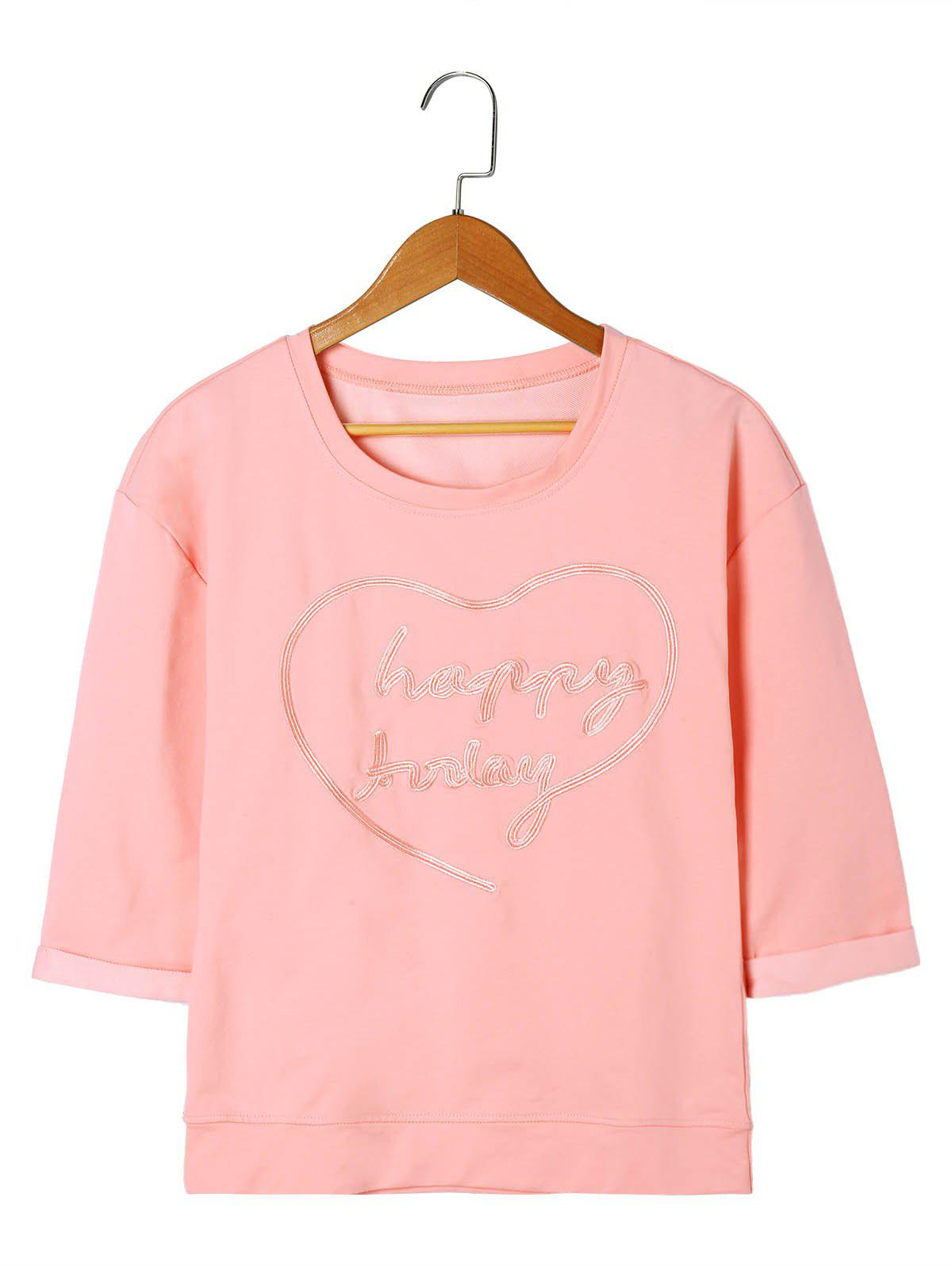 Letter Embroidery T-shirt - LIGHT PINK XL