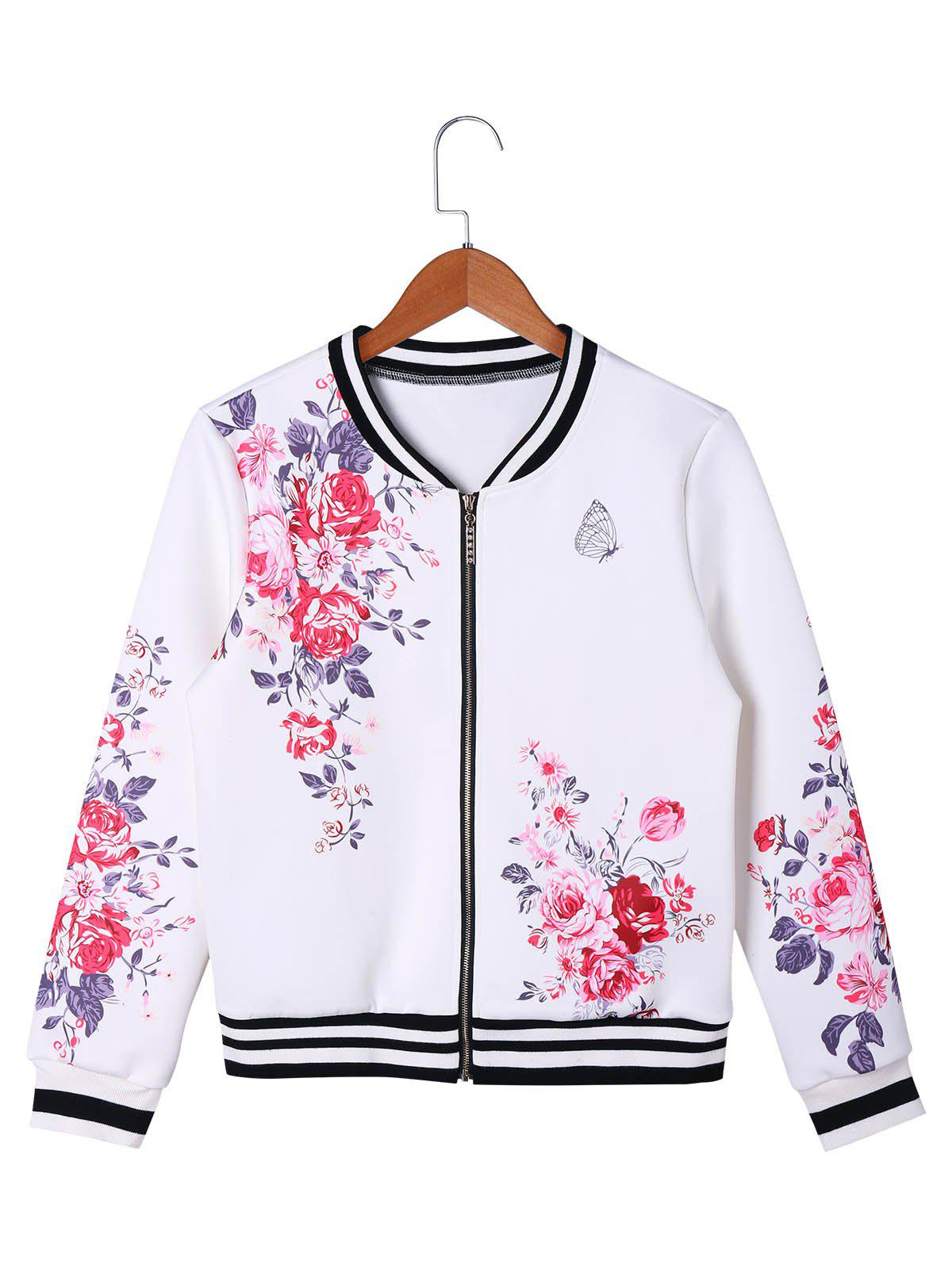 Floral Zip Up Baseball Jacket - WHITE L