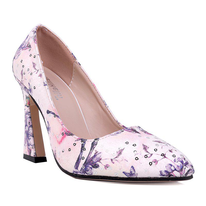 Floral Sequined High Heel Pumps - PURPLE 36
