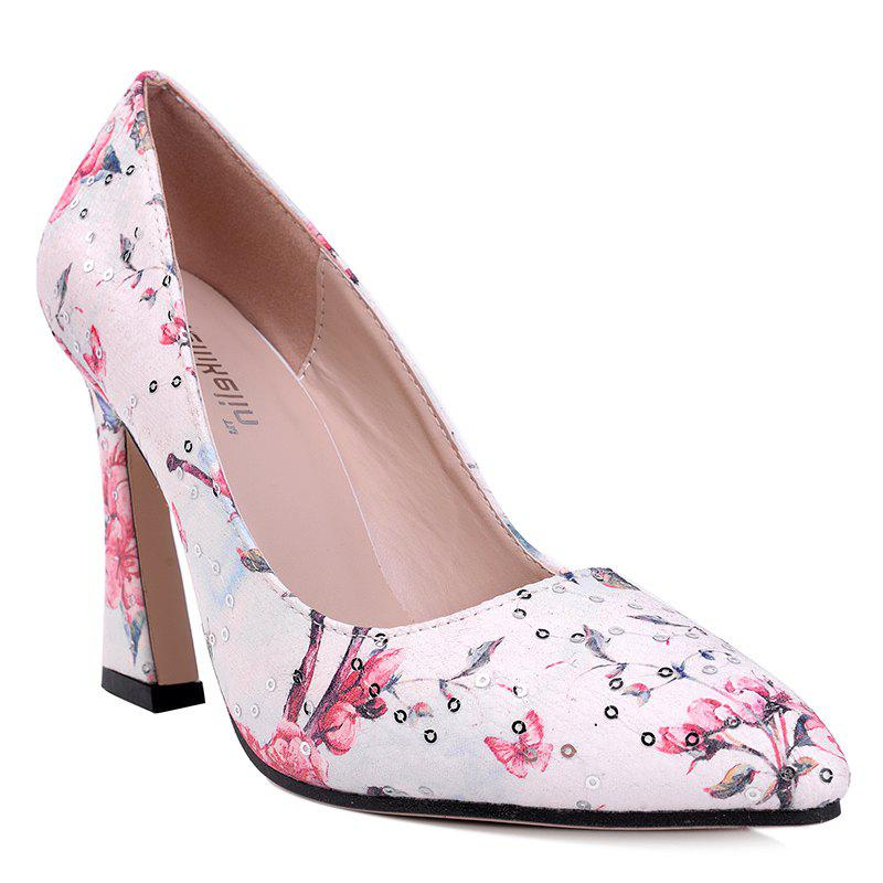 Floral Sequined High Heel Pumps - RED 40