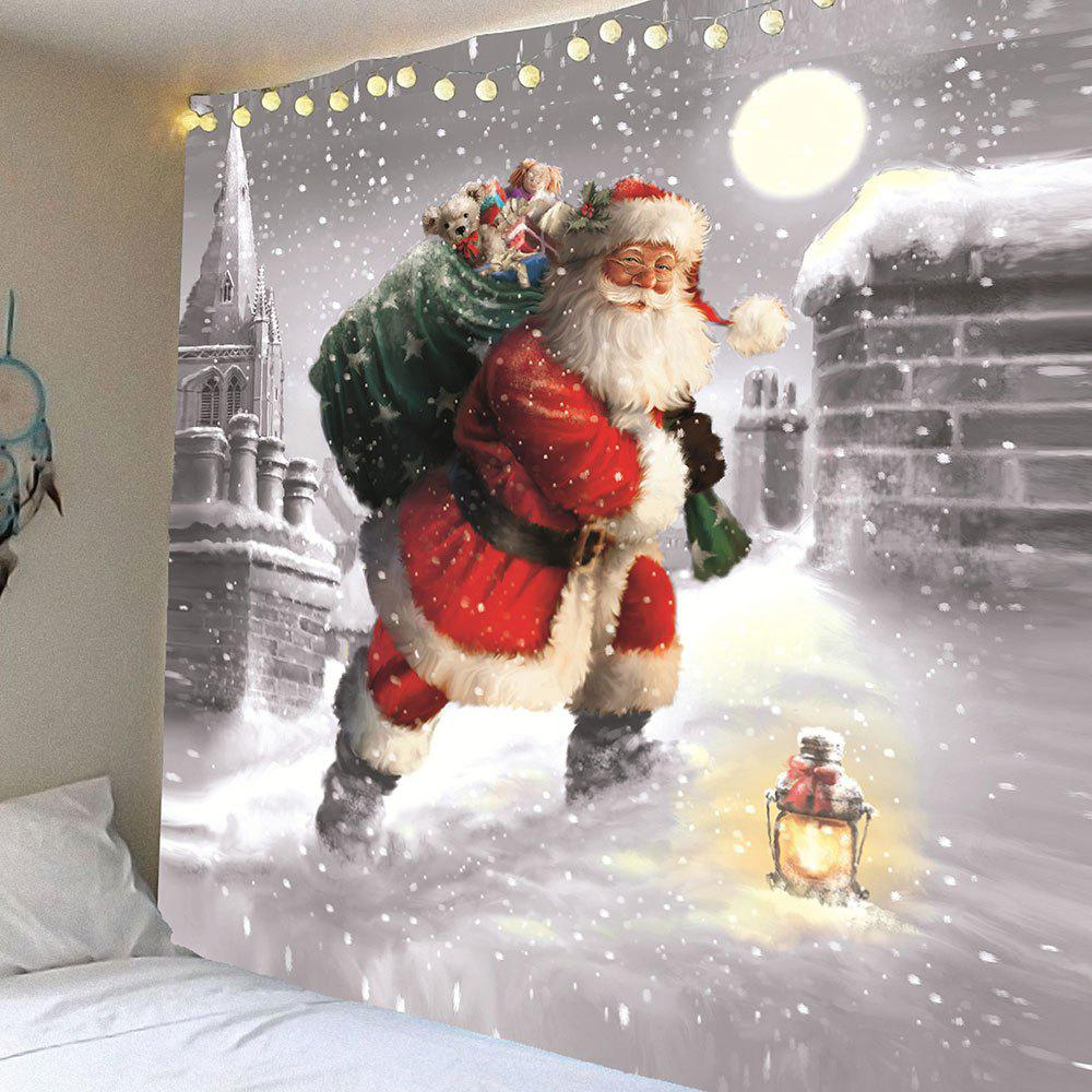 Santa Claus Walking In the Snow Patterned Wall Tapestry santa claus walking in the snow pattern stair stickers