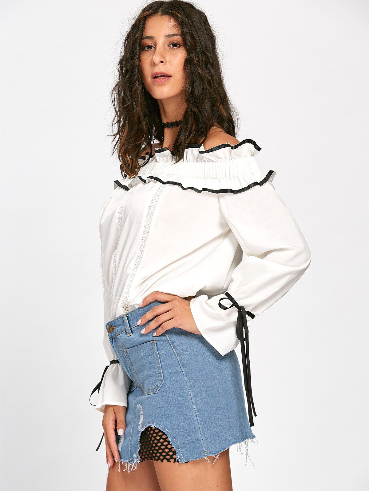 Ruffles Bowknot Hollow Out Long Sleeve Blouse - OFF WHITE 2XL